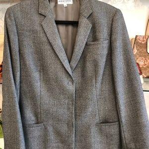 GIORGIO ARMANI Gray & Black Wool Snap Front Blazer